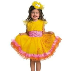 Big Bird Frilly Girls Costume-girls 4-6